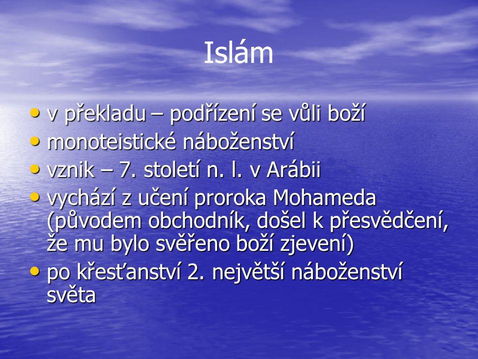 Islám v překladu – podřízení se vůli boží v překladu – podřízení se vůli boží monoteistické náboženství monoteistické náboženství vznik – 7.
