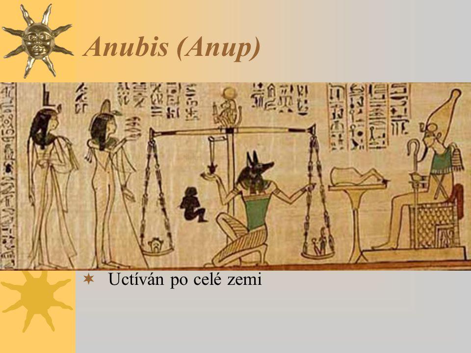 Anubis (Anup)  Vyobrazován jako ležící šakal nebo jako muž se šakalí hlavou. Jeho emblémem byla berla s vycpanou kůží bezhlavého zvířete.  Ochránce