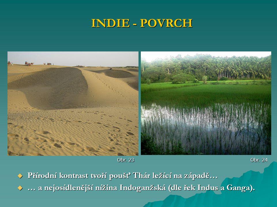  Přírodní kontrast tvoří poušť Thár ležící na západě…  … a nejosídlenější nížina Indoganžská (dle řek Indus a Ganga). INDIE - POVRCH Obr. 23 Obr. 24