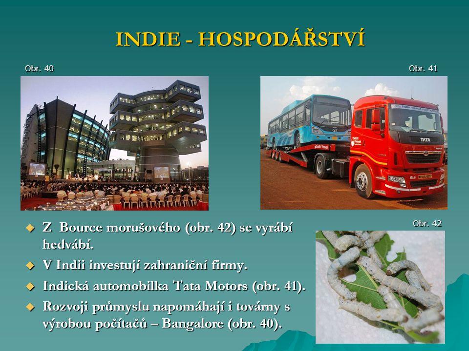  Z Bource morušového (obr. 42) se vyrábí hedvábí.  V Indii investují zahraniční firmy.  Indická automobilka Tata Motors (obr. 41).  Rozvoji průmys