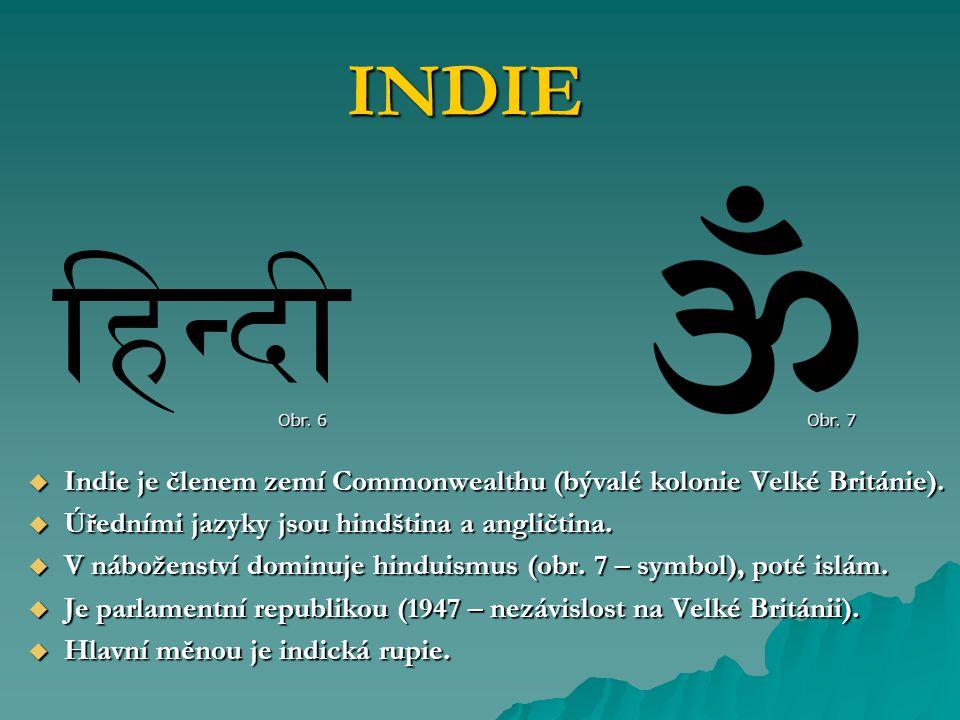  Indie je členem zemí Commonwealthu (bývalé kolonie Velké Británie).  Úředními jazyky jsou hindština a angličtina.  V náboženství dominuje hinduism