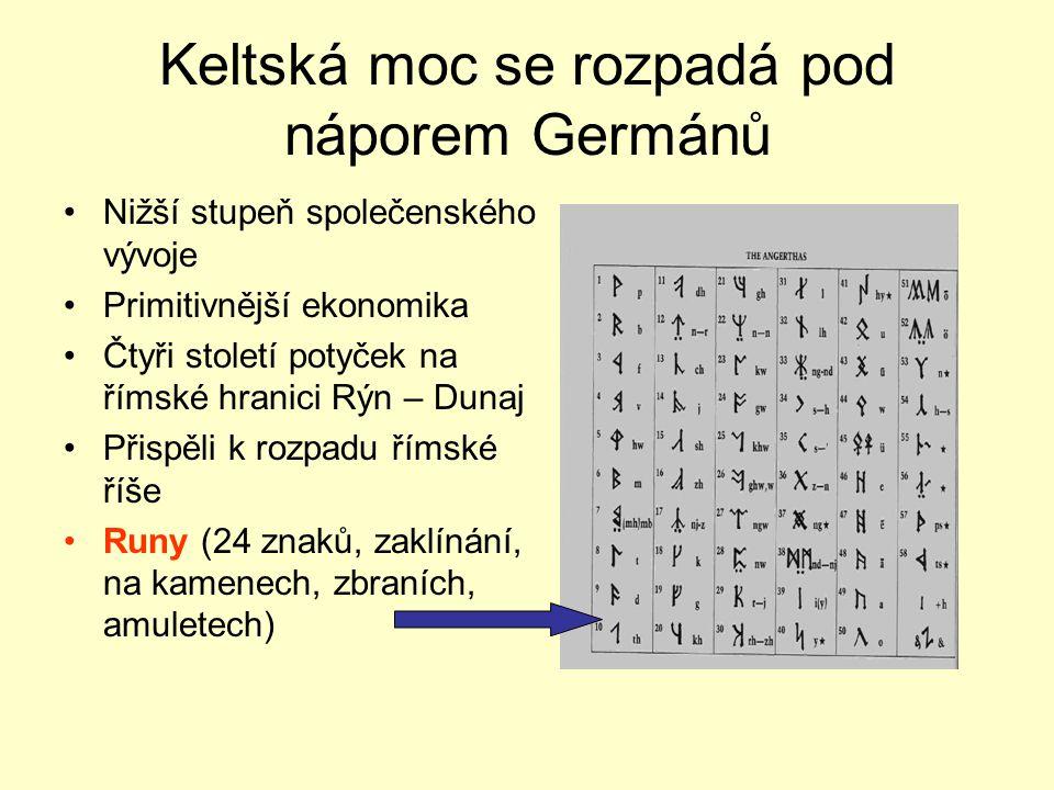 Germáni na našem území - Markomani První 4 století našeho letopočtu Kolébka Germánů – Jutský poloostrov, Dánsko, jižní Skandinávie Proč se dali do poh
