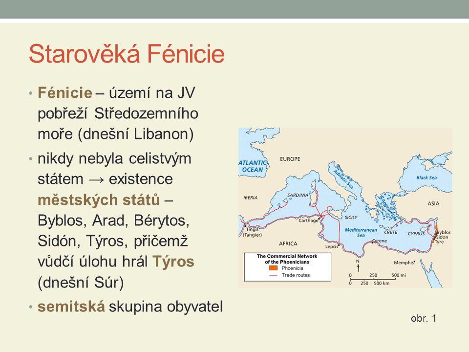 Starověká Fénicie Fénicie – území na JV pobřeží Středozemního moře (dnešní Libanon) nikdy nebyla celistvým státem → existence městských států – Byblos, Arad, Bérytos, Sidón, Týros, přičemž vůdčí úlohu hrál Týros (dnešní Súr) semitská skupina obyvatel obr.