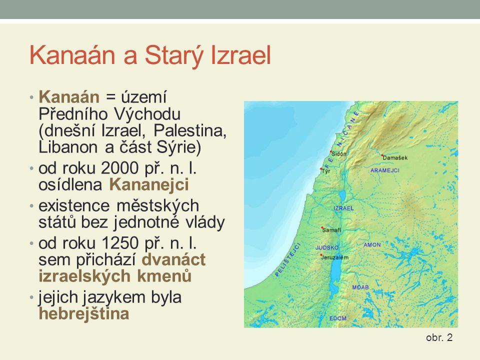 Kanaán a Starý Izrael Kanaán = území Předního Východu (dnešní Izrael, Palestina, Libanon a část Sýrie) od roku 2000 př.
