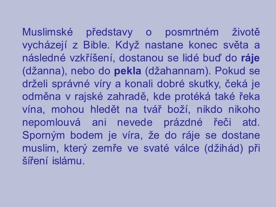 Muslimské představy o posmrtném životě vycházejí z Bible. Když nastane konec světa a následné vzkříšení, dostanou se lidé buď do ráje (džanna), nebo d