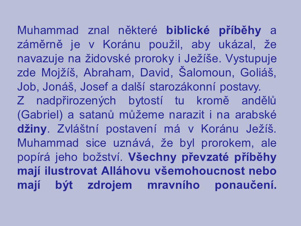 Muhammad znal některé biblické příběhy a záměrně je v Koránu použil, aby ukázal, že navazuje na židovské proroky i Ježíše. Vystupuje zde Mojžíš, Abrah