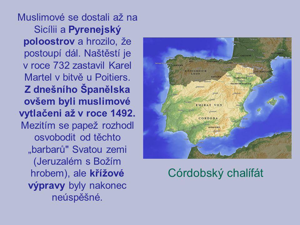 Muslimové se dostali až na Sicílii a Pyrenejský poloostrov a hrozilo, že postoupí dál. Naštěstí je v roce 732 zastavil Karel Martel v bitvě u Poitiers