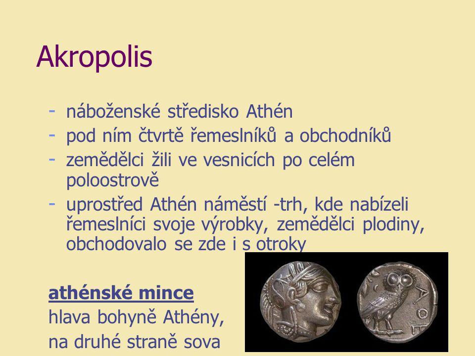 Akropolis - náboženské středisko Athén - pod ním čtvrtě řemeslníků a obchodníků - zemědělci žili ve vesnicích po celém poloostrově - uprostřed Athén n