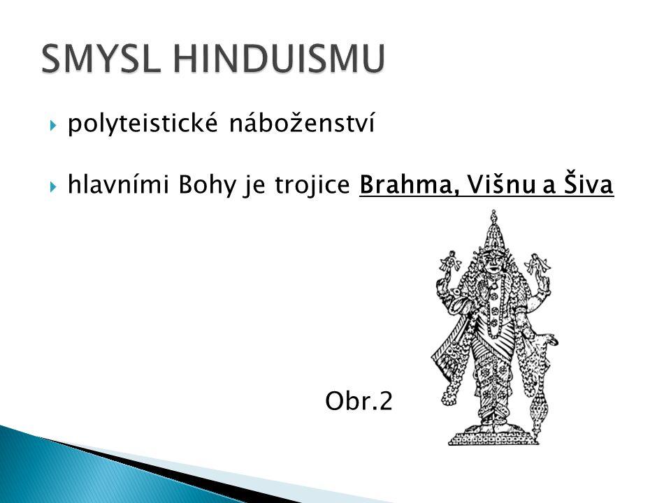  polyteistické náboženství  hlavními Bohy je trojice Brahma, Višnu a Šiva Obr.2