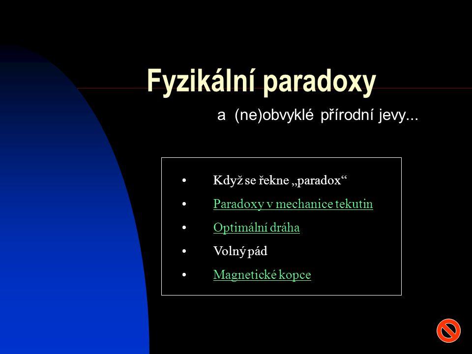 """Fyzikální paradoxy a (ne)obvyklé přírodní jevy... Když se řekne """"paradox"""" Paradoxy v mechanice tekutin Optimální dráha Volný pád Magnetické kopce"""