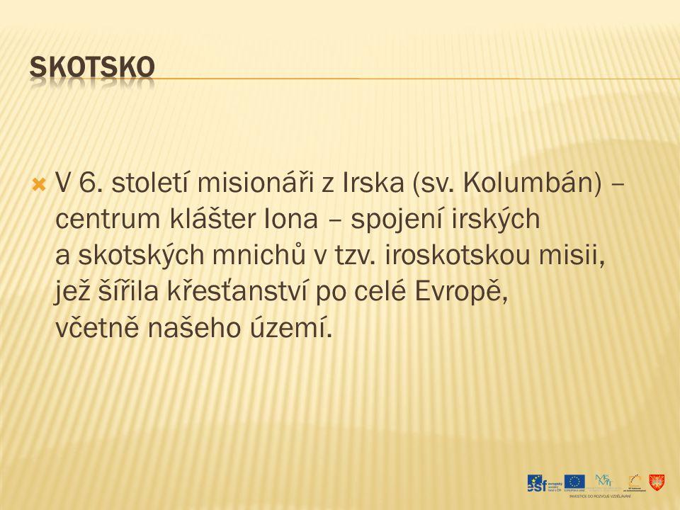  Do střední Evropy přichází nejprve latinská christianizace – působí zde iroskotská misie (Modrá u Velehradu) a misie z oblasti Bavorska (Pasov, Řezno…) – malý úspěch christianizace.