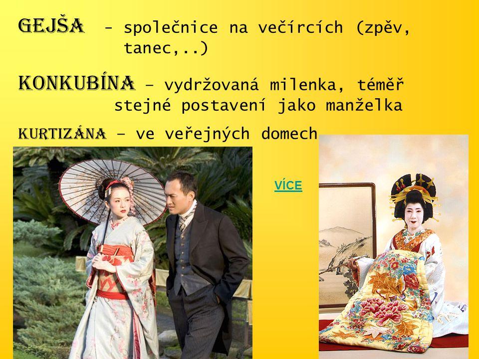 GEJŠA - společnice na večírcích (zpěv, tanec,..) KONKUBÍNA – vydržovaná milenka, téměř stejné postavení jako manželka KURTIZÁNA – ve veřejných domech