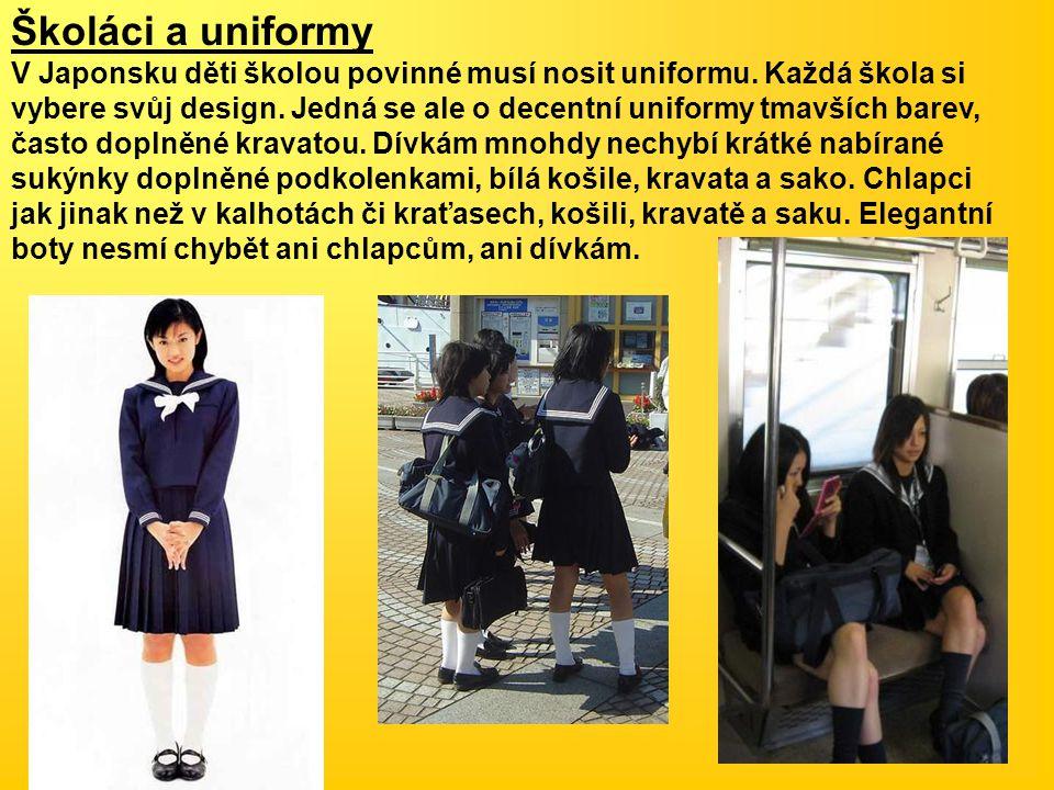Školáci a uniformy V Japonsku děti školou povinné musí nosit uniformu. Každá škola si vybere svůj design. Jedná se ale o decentní uniformy tmavších ba