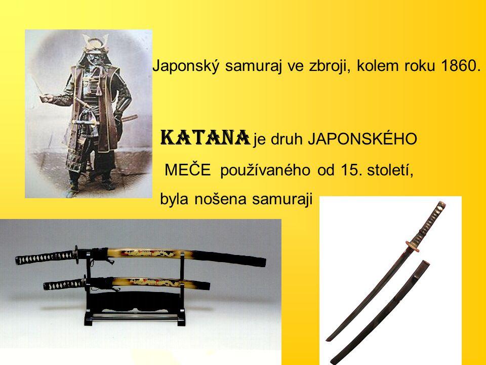 Japonský samuraj ve zbroji, kolem roku 1860. Katana je druh JAPONSKÉHO MEČE používaného od 15. století, byla nošena samuraji