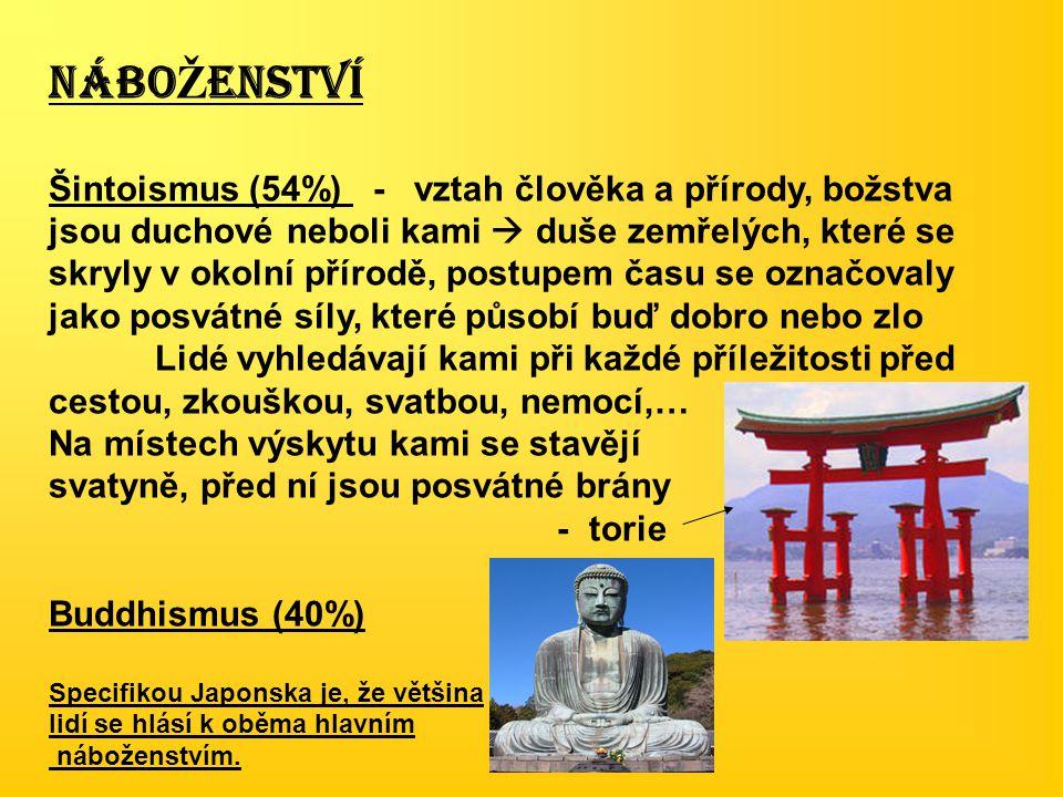 NÁBO Ž ENSTVÍ Šintoismus (54%) - vztah člověka a přírody, božstva jsou duchové neboli kami  duše zemřelých, které se skryly v okolní přírodě, postupe