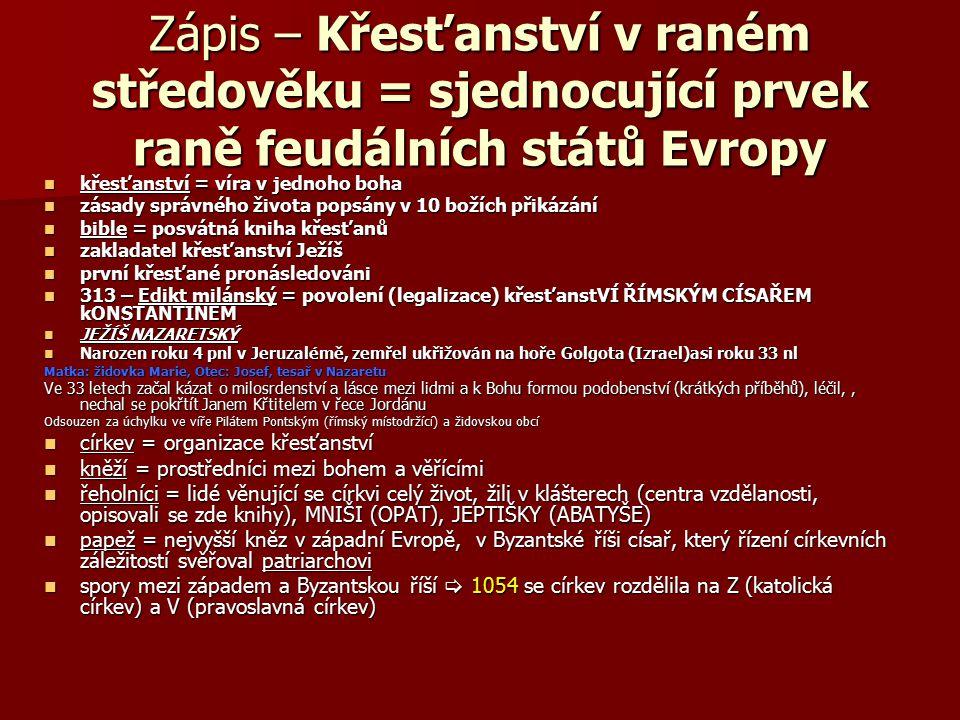 Zápis – Křesťanství v raném středověku = sjednocující prvek raně feudálních států Evropy křesťanství = víra v jednoho boha křesťanství = víra v jednoh