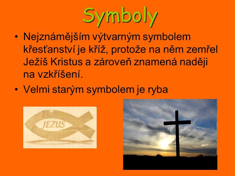 Symboly Nejznámějším výtvarným symbolem křesťanství je kříž, protože na něm zemřel Ježíš Kristus a zároveň znamená naději na vzkříšení. Velmi starým s