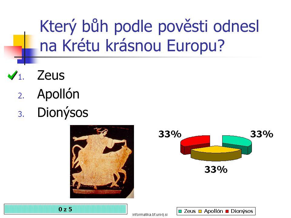 Který bůh podle pověsti odnesl na Krétu krásnou Europu.