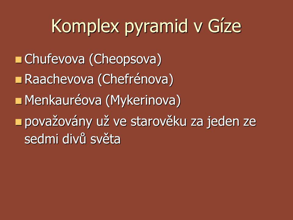 Komplex pyramid v Gíze Chufevova (Cheopsova) Chufevova (Cheopsova) Raachevova (Chefrénova) Raachevova (Chefrénova) Menkauréova (Mykerinova) Menka