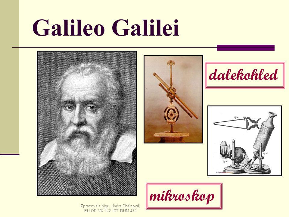 Galileo Galilei dalekohled mikroskop Zpracovala Mgr. Jindra Chejnová, EU-OP VK-III/2 ICT DUM 471