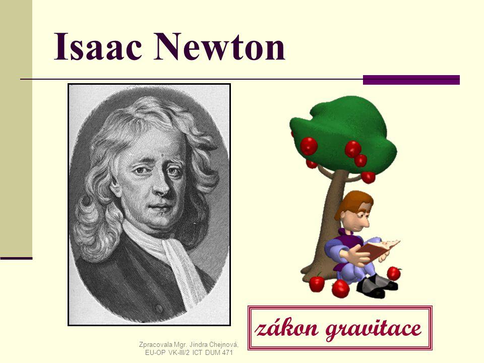 Isaac Newton zákon gravitace Zpracovala Mgr. Jindra Chejnová, EU-OP VK-III/2 ICT DUM 471