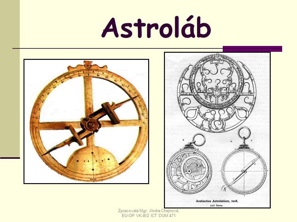 Astroláb Zpracovala Mgr. Jindra Chejnová, EU-OP VK-III/2 ICT DUM 471