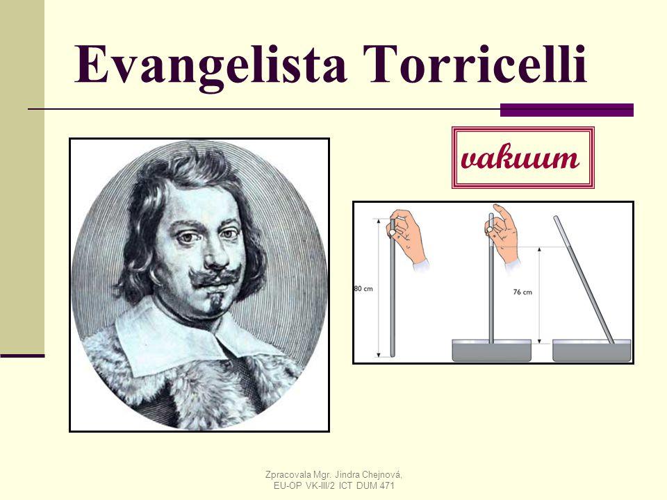 Evangelista Torricelli vakuum Zpracovala Mgr. Jindra Chejnová, EU-OP VK-III/2 ICT DUM 471