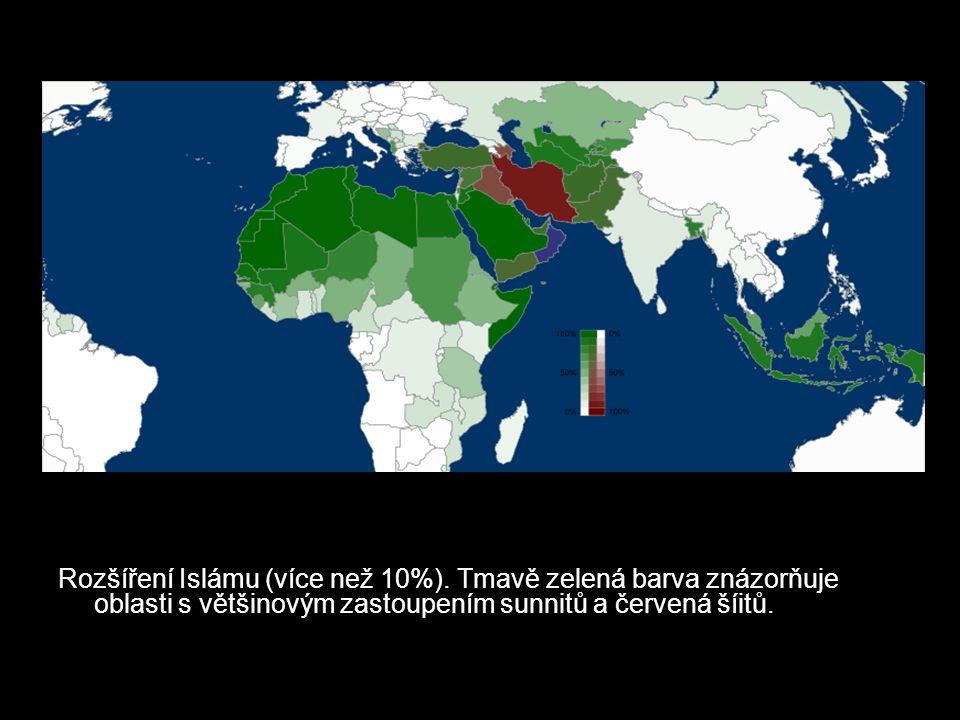 Rozšíření Islámu (více než 10%). Tmavě zelená barva znázorňuje oblasti s většinovým zastoupením sunnitů a červená šíitů.