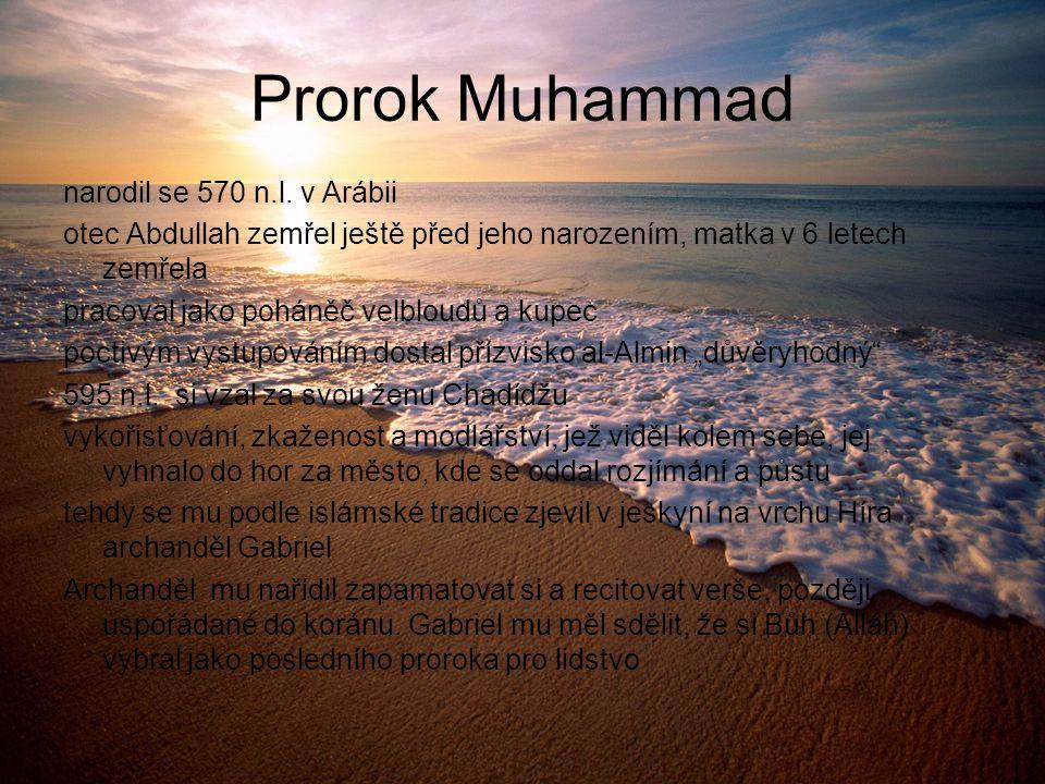 Prorok Muhammad narodil se 570 n.l. v Arábii otec Abdullah zemřel ještě před jeho narozením, matka v 6 letech zemřela pracoval jako poháněč velbloudů