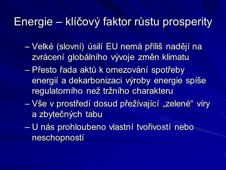 """Energie – klíčový faktor růstu prosperity –Velké (slovní) úsilí EU nemá příliš nadějí na zvrácení globálního vývoje změn klimatu –Přesto řada aktů k omezování spotřeby energií a dekarbonizaci výroby energie spíše regulatorního než tržního charakteru –Vše v prostředí dosud přežívající """"zelené víry a zbytečných tabu –U nás prohloubeno vlastní tvořivostí nebo neschopností"""