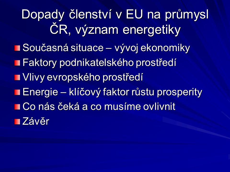 Dopady členství v EU na průmysl ČR, význam energetiky Současná situace – vývoj ekonomiky Faktory podnikatelského prostředí Vlivy evropského prostředí Energie – klíčový faktor růstu prosperity Co nás čeká a co musíme ovlivnit Závěr