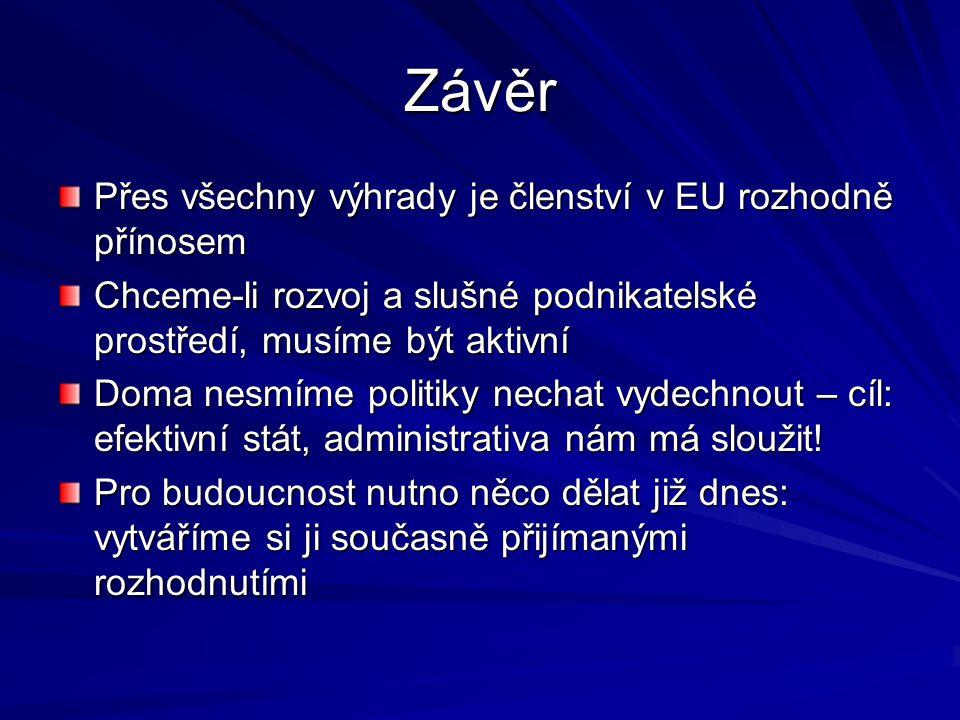 Závěr Přes všechny výhrady je členství v EU rozhodně přínosem Chceme-li rozvoj a slušné podnikatelské prostředí, musíme být aktivní Doma nesmíme polit