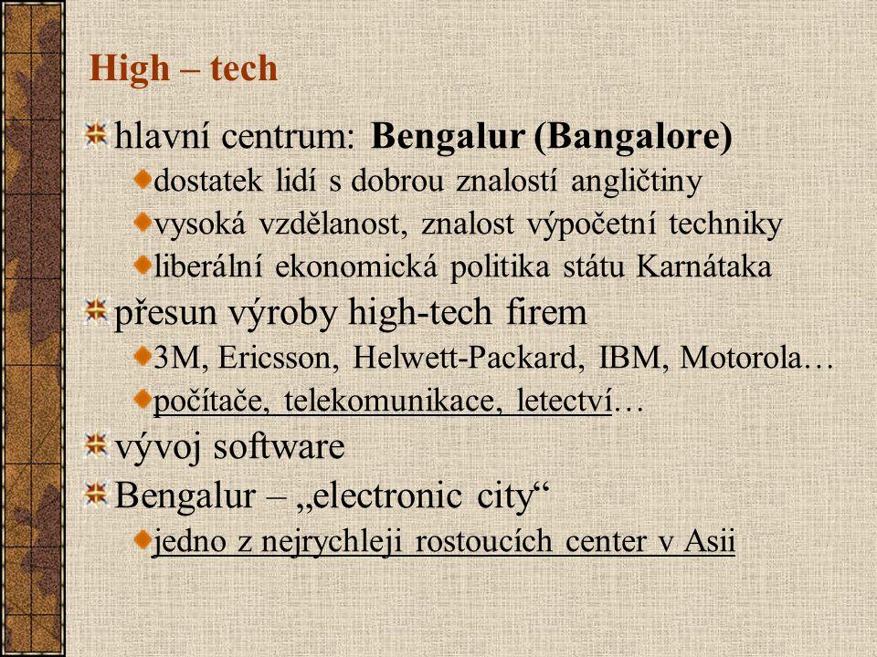 High – tech hlavní centrum: Bengalur (Bangalore) dostatek lidí s dobrou znalostí angličtiny vysoká vzdělanost, znalost výpočetní techniky liberální ek
