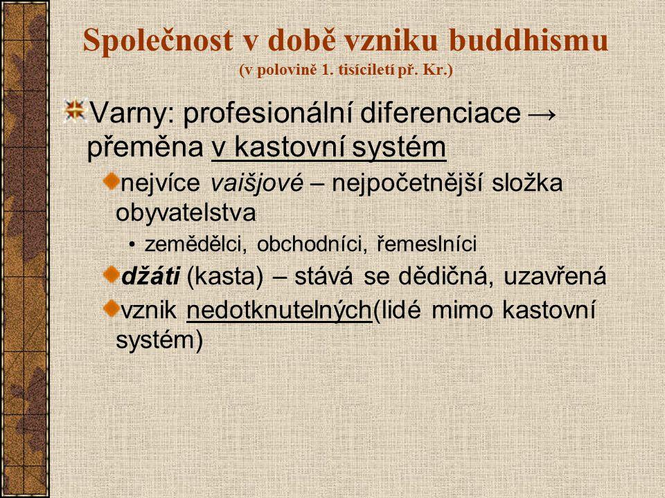 Společnost v době vzniku buddhismu (v polovině 1. tisíciletí př. Kr.) Varny: profesionální diferenciace → přeměna v kastovní systém nejvíce vaišjové