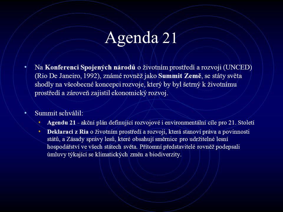 Agenda 21 Na Konferenci Spojených národů o životním prostředí a rozvoji (UNCED) (Rio De Janeiro, 1992), známé rovněž jako Summit Země, se státy světa shodly na všeobecné koncepci rozvoje, který by byl šetrný k životnímu prostředí a zároveň zajistil ekonomický rozvoj.
