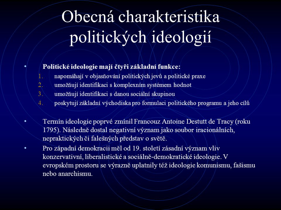 Obecná charakteristika politických ideologií Politické ideologie mají čtyři základní funkce: 1.