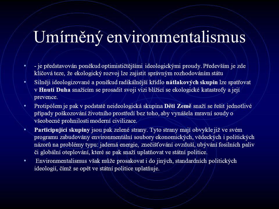 Umírněný environmentalismus - je představován poněkud optimističtějšími ideologickými proudy.