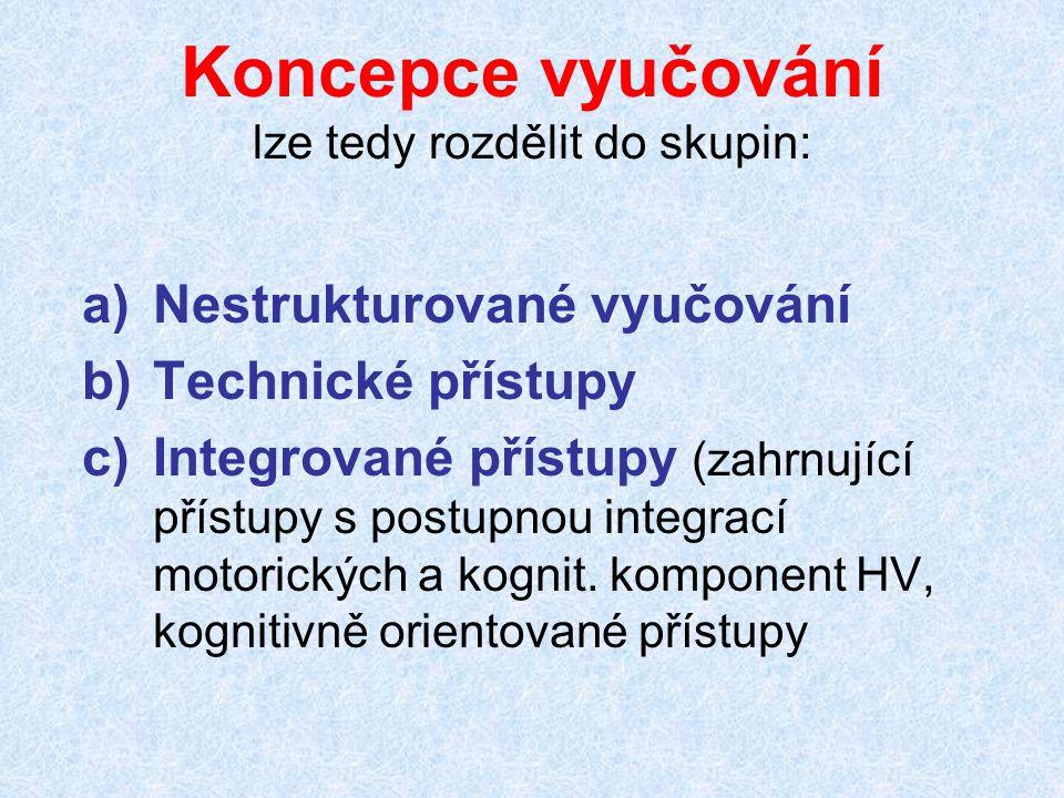 Koncepce vyučování lze tedy rozdělit do skupin: a)Nestrukturované vyučování b)Technické přístupy c)Integrované přístupy (zahrnující přístupy s postupn