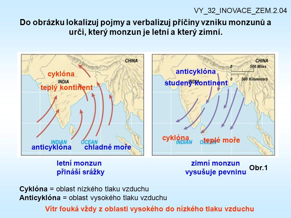 Do obrázku lokalizuj pojmy a verbalizuj příčiny vzniku monzunů a urči, který monzun je letní a který zimní. Obr.1 cyklóna anticyklóna zimní monzun vys