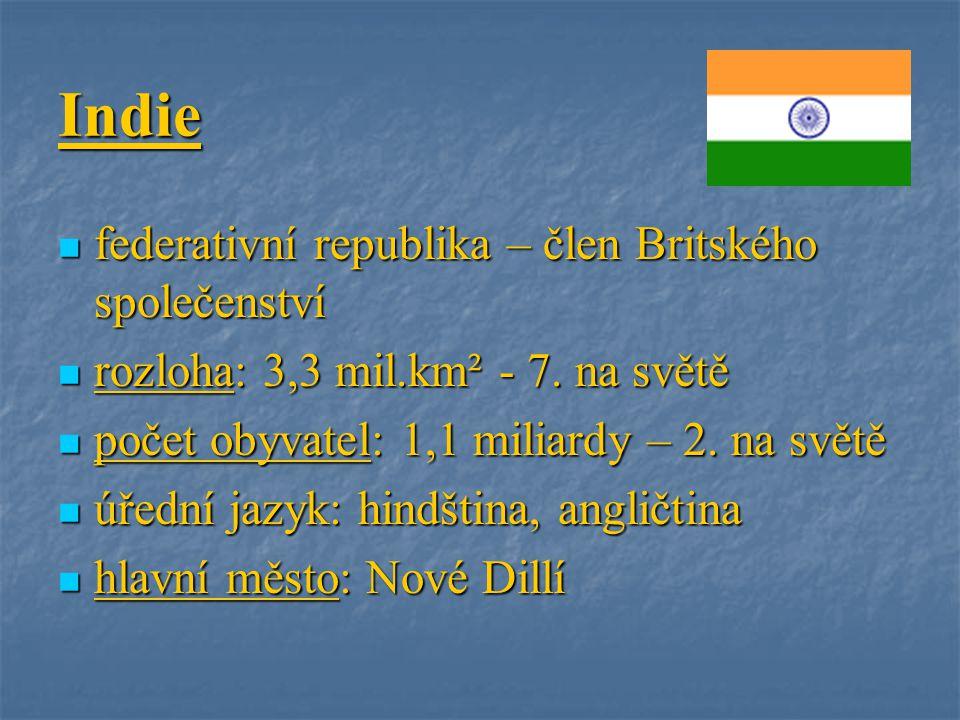 Indie federativní republika – člen Britského společenství federativní republika – člen Britského společenství rozloha: 3,3 mil.km² - 7. na světě rozlo