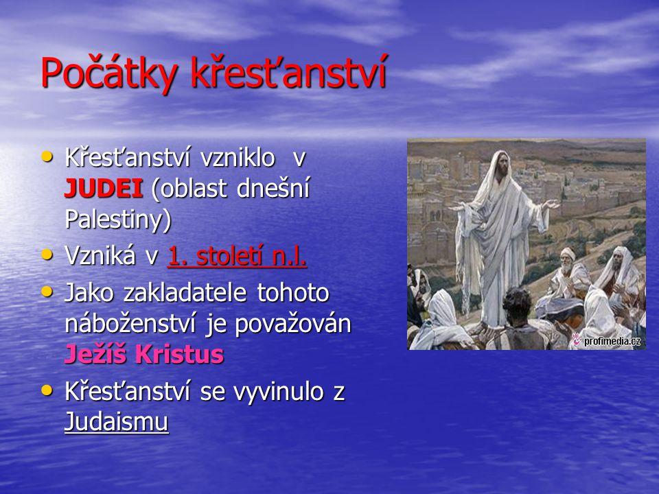 Křesťanství přebírá základní prvky víry a Starý zákon z judaismu Křesťanství přebírá základní prvky víry a Starý zákon z judaismu S počátkem křesťanství také souvisí vznik– Nového zákona S počátkem křesťanství také souvisí vznik– Nového zákona Oba tyto svaté spisy jsou obsaženy v BIBLI Oba tyto svaté spisy jsou obsaženy v BIBLI Hlavní postavy křesťanství jsou :Otec,Syn a Duch svatý Hlavní postavy křesťanství jsou :Otec,Syn a Duch svatý