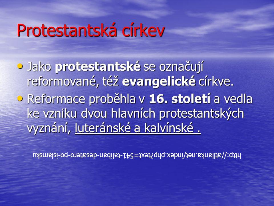 Protestantská církev Jako protestantské se označují reformované, též evangelické církve. Jako protestantské se označují reformované, též evangelické c