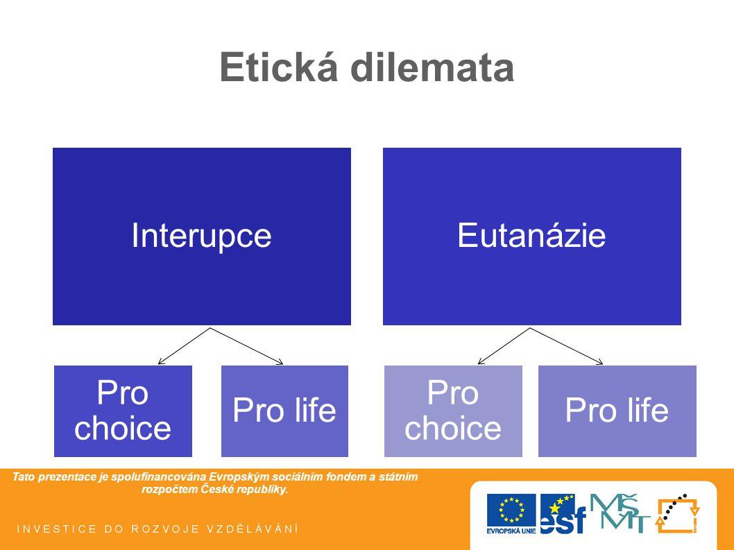 Tato prezentace je spolufinancována Evropským sociálním fondem a státním rozpočtem České republiky. Etická dilemata InterupceEutanázie Pro choice Pro