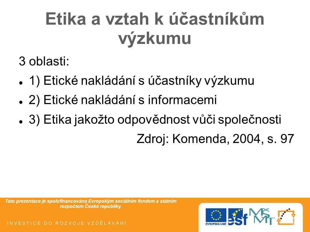 Tato prezentace je spolufinancována Evropským sociálním fondem a státním rozpočtem České republiky. Etika a vztah k účastníkům výzkumu 3 oblasti: 1) E