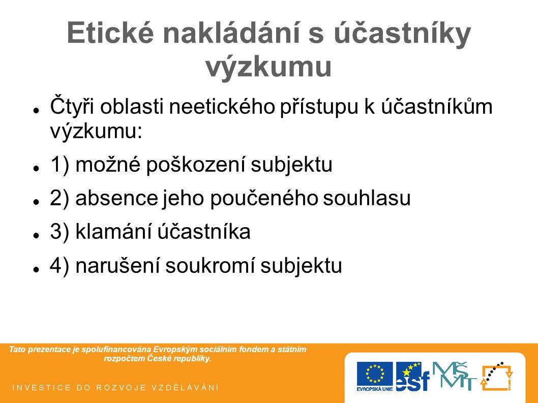 Tato prezentace je spolufinancována Evropským sociálním fondem a státním rozpočtem České republiky. Etické nakládání s účastníky výzkumu Čtyři oblasti