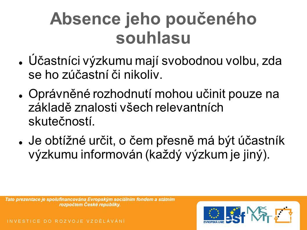 Tato prezentace je spolufinancována Evropským sociálním fondem a státním rozpočtem České republiky. Absence jeho poučeného souhlasu Účastníci výzkumu