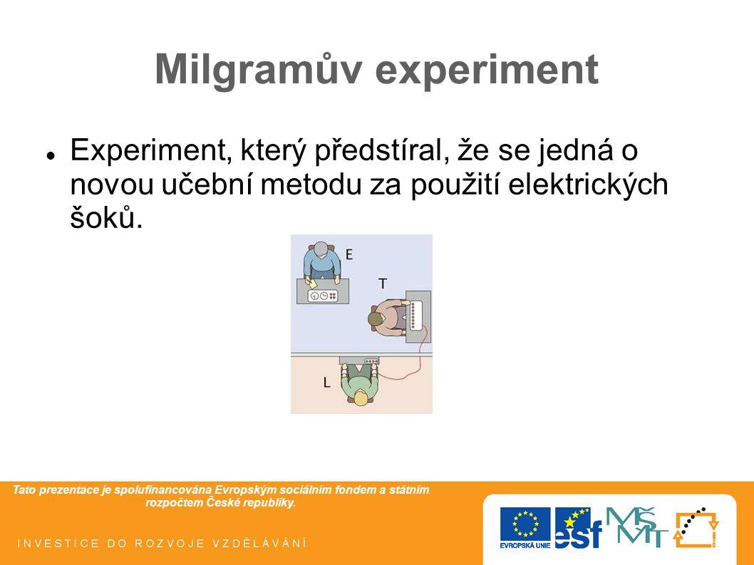 Tato prezentace je spolufinancována Evropským sociálním fondem a státním rozpočtem České republiky. Milgramův experiment Experiment, který předstíral,