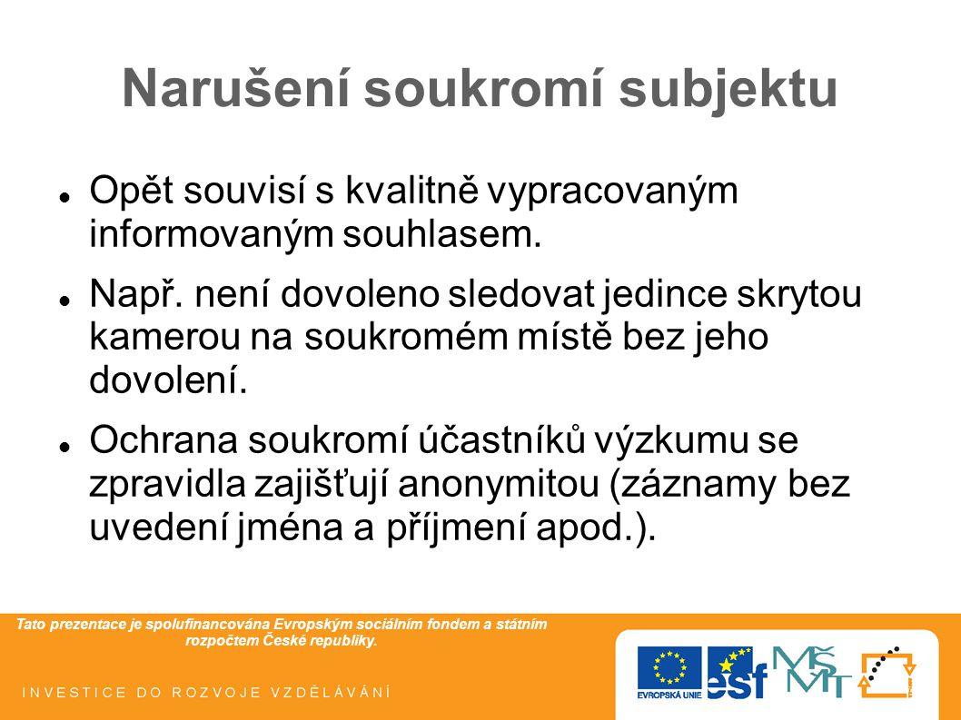 Tato prezentace je spolufinancována Evropským sociálním fondem a státním rozpočtem České republiky. Narušení soukromí subjektu Opět souvisí s kvalitně