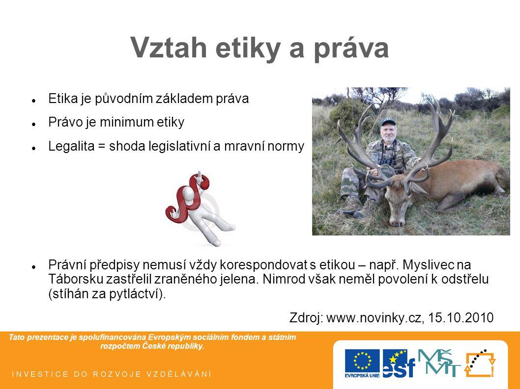 Tato prezentace je spolufinancována Evropským sociálním fondem a státním rozpočtem České republiky. Vztah etiky a práva Etika je původním základem prá