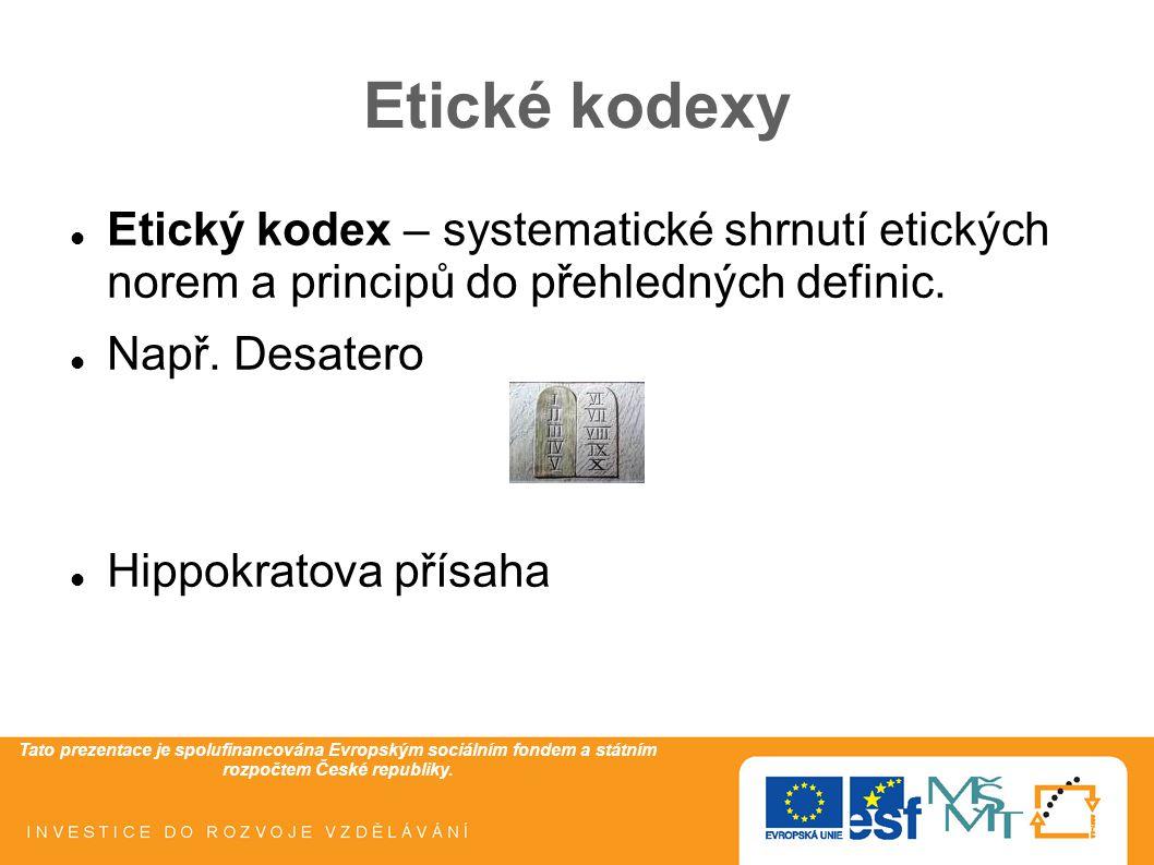 Tato prezentace je spolufinancována Evropským sociálním fondem a státním rozpočtem České republiky. Etické kodexy Etický kodex – systematické shrnutí